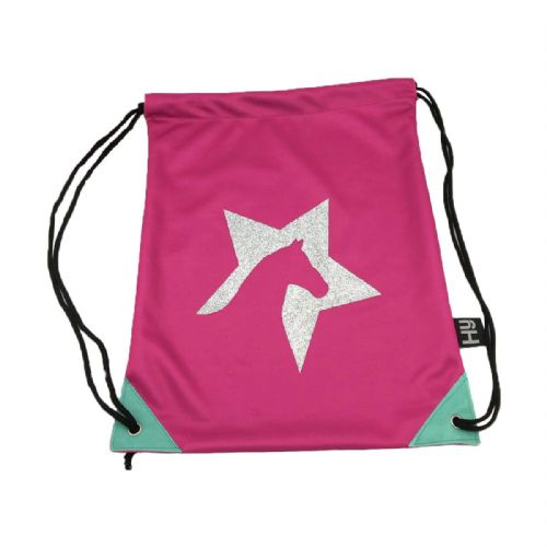 Hy Zeddy Drawstring Bag in Flamingo Pink/Turquoise